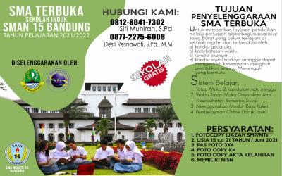 Pembukaan Pendaftaran SMA Terbuka Induk SMAN 15 Bandung Tahun Pelajaran 2021/2022